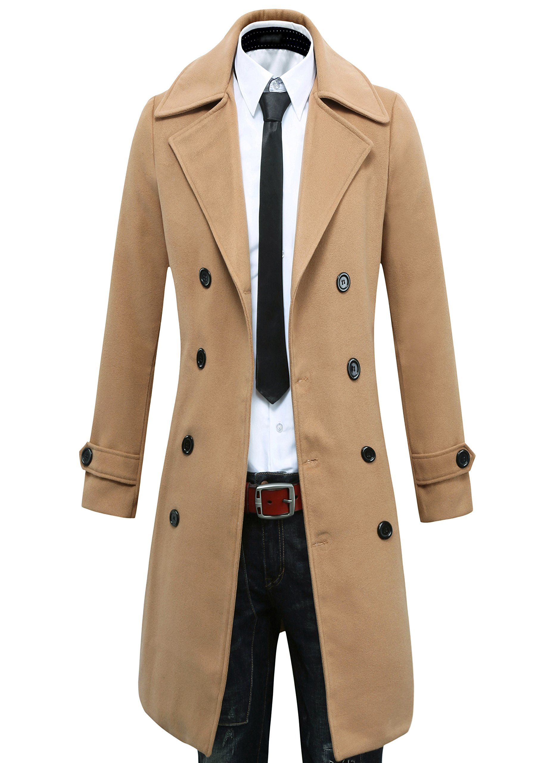 Beninos Men's Trench Coat Winter Long Jacket Double Breasted Overcoat (5625 Camel, US:S/Asia L) by Beninos