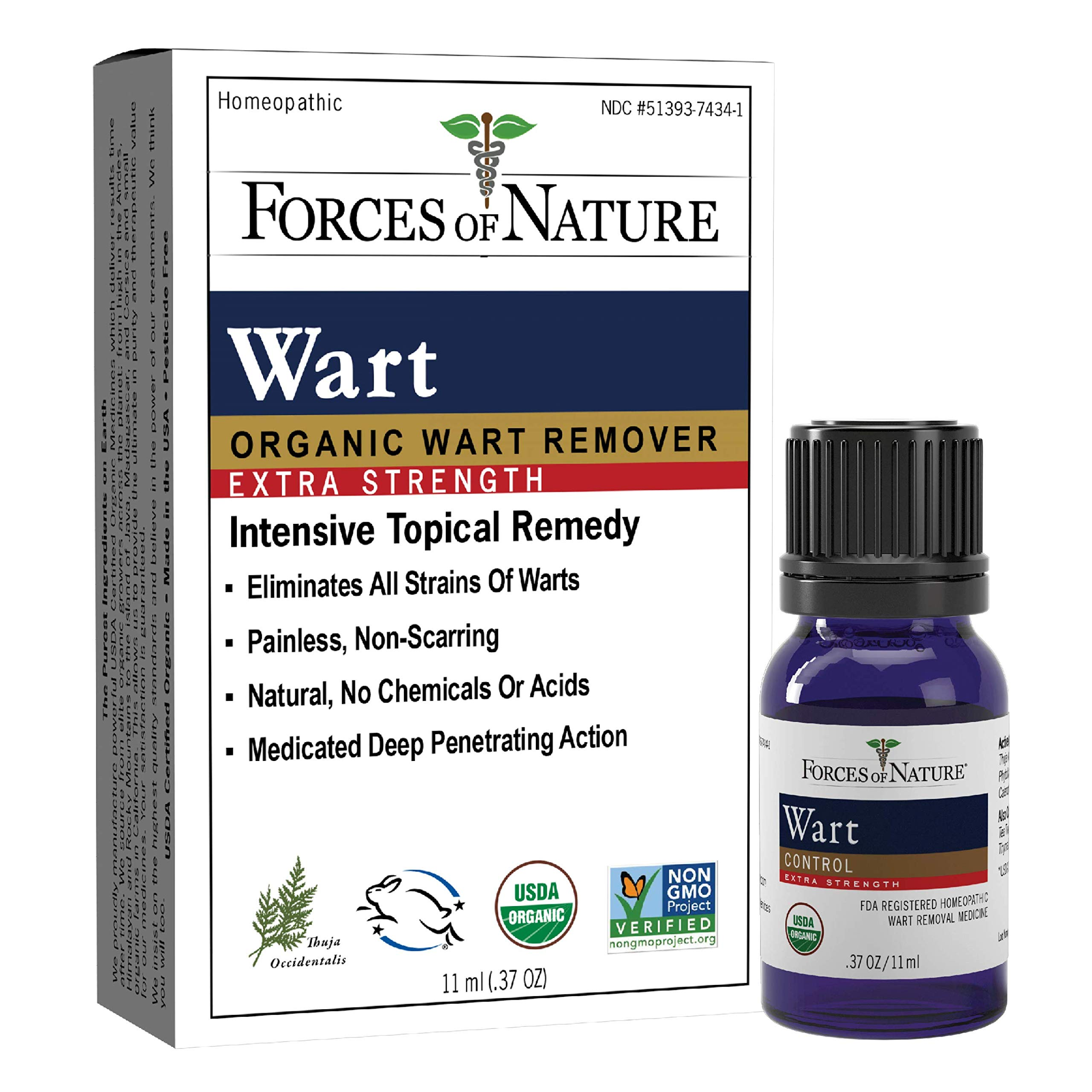 Forces of Nature -Natural, Organic Wart Extra Strength Remover (11ml) Non GMO, No Harmful Chemicals, Nontoxic -Eliminate Planter, Facial, Flat, Body, Hands, Fingers and Foot Warts at the Root by Forces Of Nature