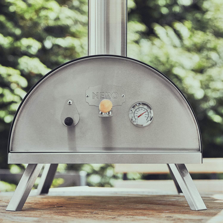BURNHARD Horno para Pizzas Exterior de Acero Inoxidable Nero, Incluye Pala y Piedra para Horno Pizza, Pizzera de Calidad, Horno de leña Premium para ...