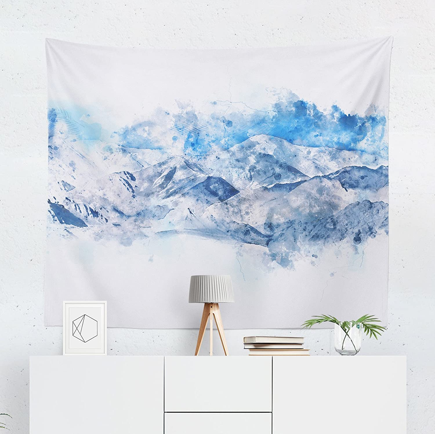 Watercolor Mountain Tapestry - Wilderness Blue Landscape Wall Tapestries Hanging Décor Bedroom Dorm College Living Room Home Art Print Decoration Decorative - Printed in the USA - Small Medium Large