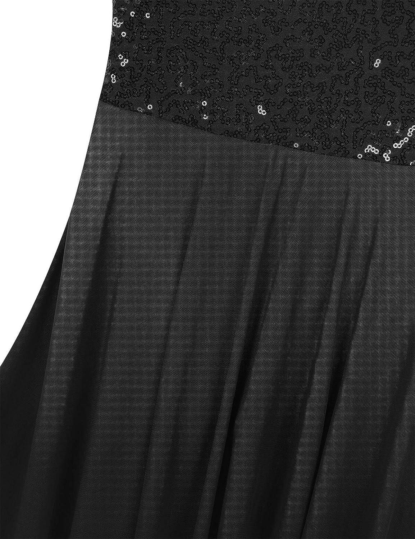 winying Longue Robe de Ballet Danse Classique Tulle Enfant Fille Maxi Robe de Soir/ée Cocktail Paillettes Robes sans Manches Justaucorps Gymnastique Patinage 5-14 Ans
