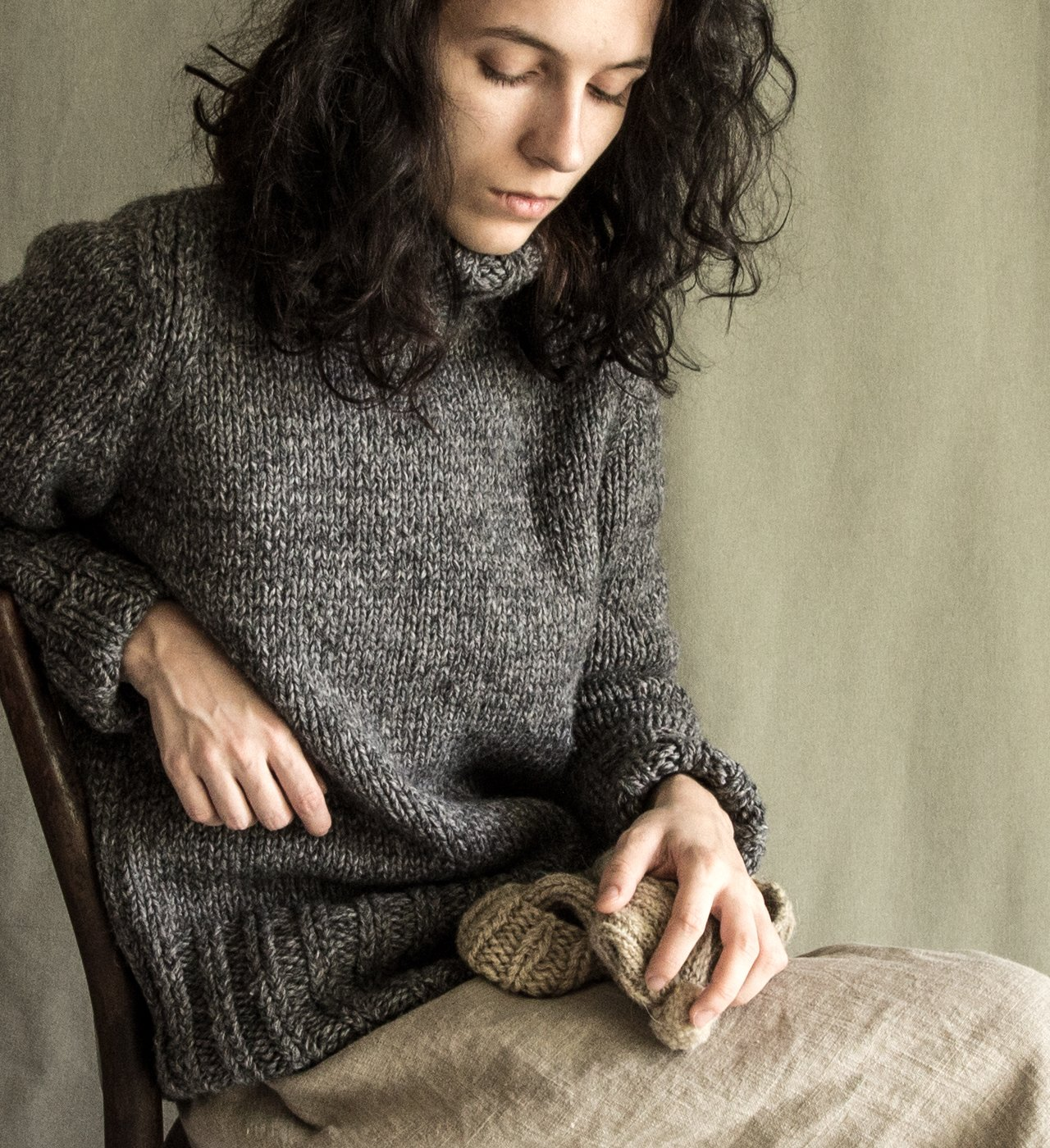 Winter sweater woolen sweater grey sweater natural wool winter jumper crocheted sweater wool knit cardigan women's charcoal knitted vest