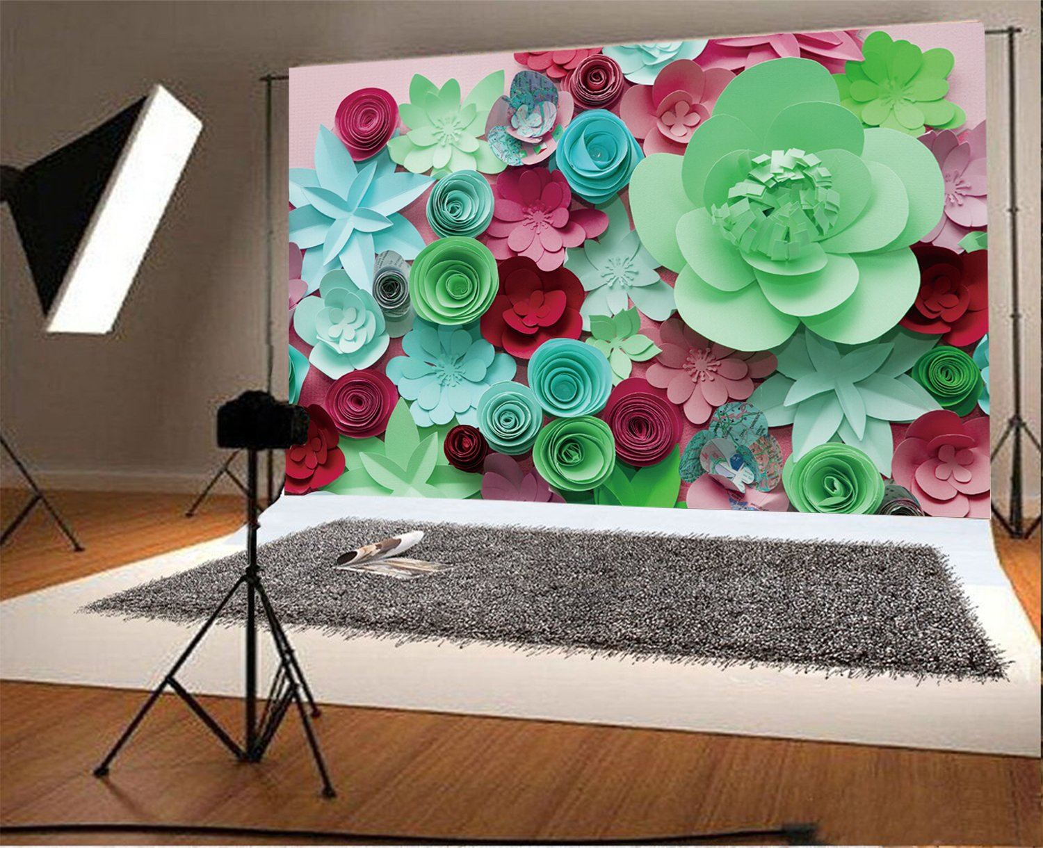 AOFOTO 7x5ft Valentines Day 3D Paper Flowers Backdrop Floral Gifts Birthday Party Decoration Wedding Ceremeny Anniversary Photography Background ...