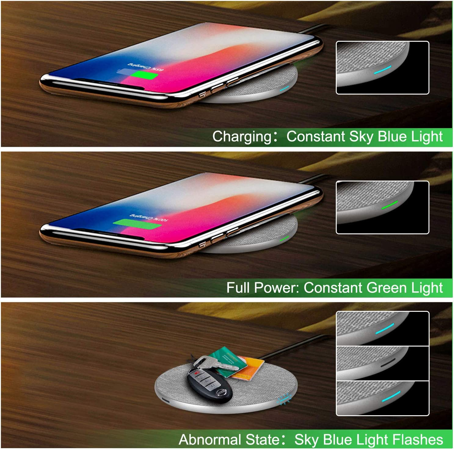 No AC Adapter Wireless Charger 10W for Galaxy S10//S10 Plus//S10E//S9 RATEL Qi-Certified 7.5W Wireless Charging Compatible with iPhone 11//11Pro//11Pro Max//Xs MAX//XR//XS//X//8Plus//8 5W for All Qi Phones