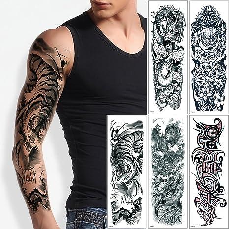 5 Hojas De Adhesivo De Tatuaje Temporal Diseno De Animales De Brazo