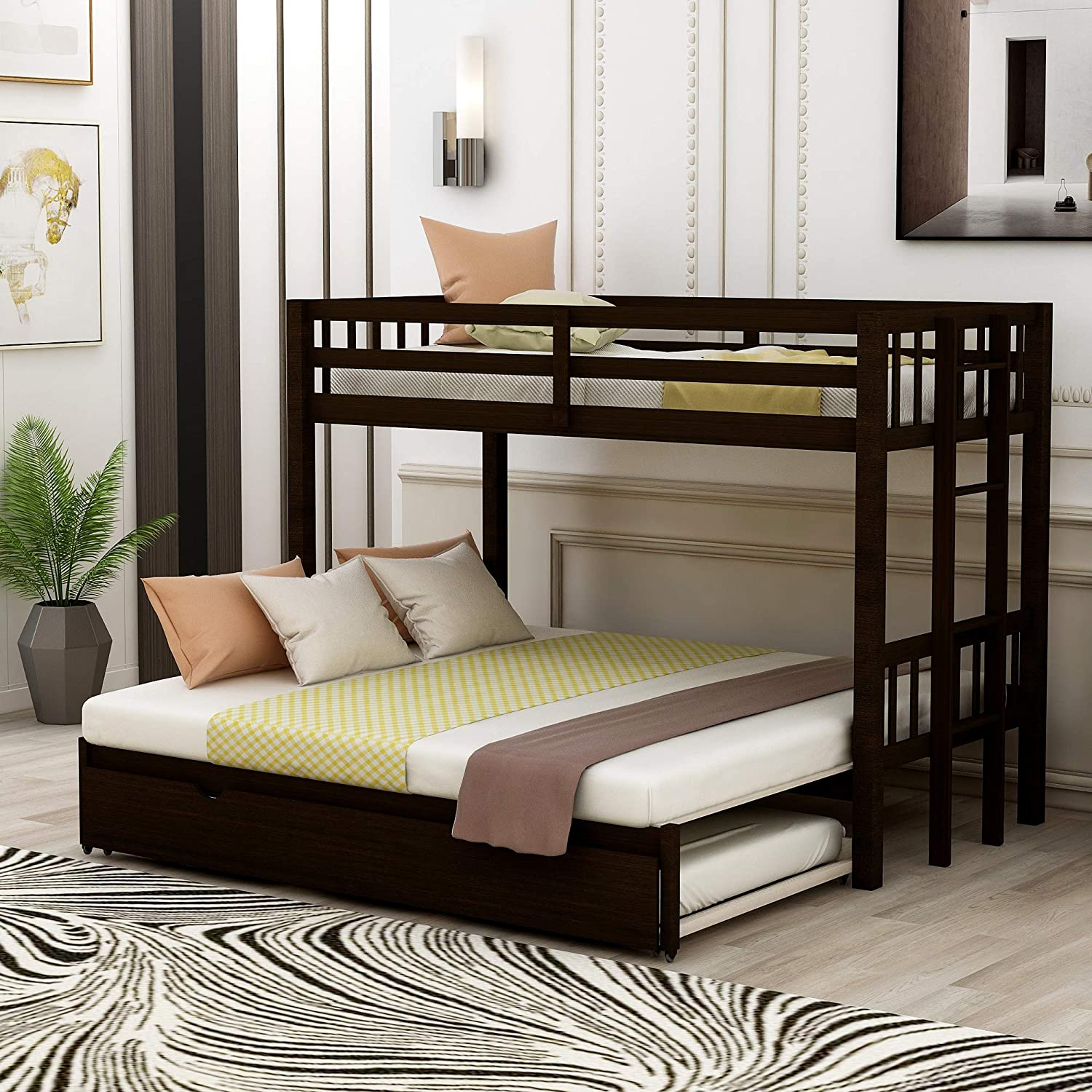 Amazon Com Bunk Beds 79 5 Twin Over Pull Out Bunk Bed With Trundle Solid Wood Twin Over Twin Bunk Bed With Safety Guard Rail For Kids Teens No Box Spring Needed Space Saving Design Espresso Kitchen