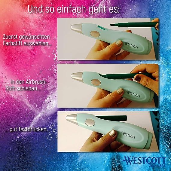 Westcott E-16800 00 Kit de Peinture /électrique pour Enfants avec 12 feutres /& 19 pochoirs /à Peindre et Dessiner avec Batterie et c/âble USB Vert