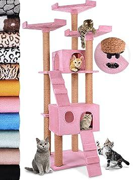 Leopet - Arbol rascador para gatos de altura 171.5 cm - 2 cuevas y 3 plataformas y 2 escaleras - Rosa - color a elegir: Amazon.es: Hogar