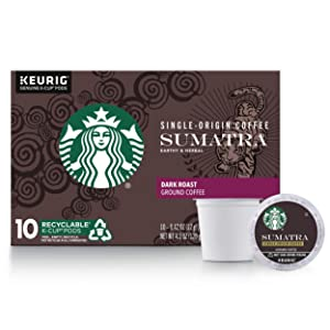 Starbucks Sumatra Dark Roast Single Cup Coffee for Keurig Brewers, Box of 10 K-Cup Pods