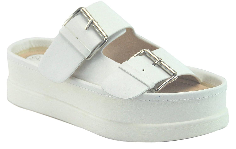 BDshoes Adelle Double Buckle Slip On Platform Wedge Sandal for Women Black Metallic Silver White B07B2YTRL6 5.5 B(M) US|White
