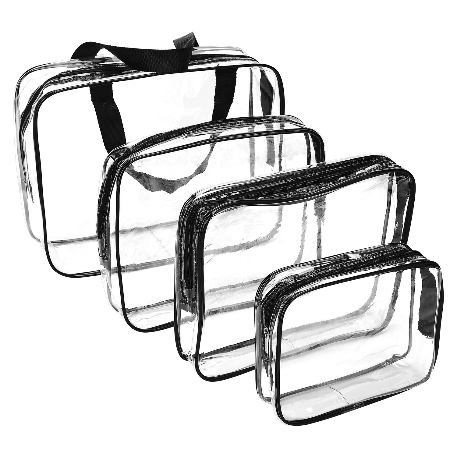 Clear Makeup Bags, Travel Bag/ Travel Toiletry Bag Kit 4 Pack Travel Toiletry Cosmetic Bag Portable Waterproof PVC Organizer Case for Men & Women(4 pack, 3 size)