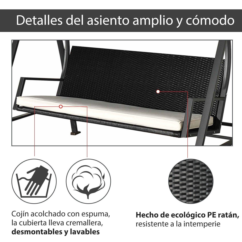 87420f0fb Outsunny Columpio de Jardín Tipo Balancín Mecedora de Ratán con 3 Plazas  para Jardín y Terraza con Toldo Regulable y Cojín - 198x124x179cm:  Amazon.es: ...