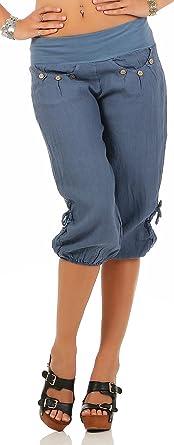 Malito Pantalones de Chándal Lino y con Botón de diseño de ...