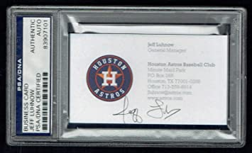 Jeff Luhnow Signed Autograph Auto Business Card Houston Astros Gm