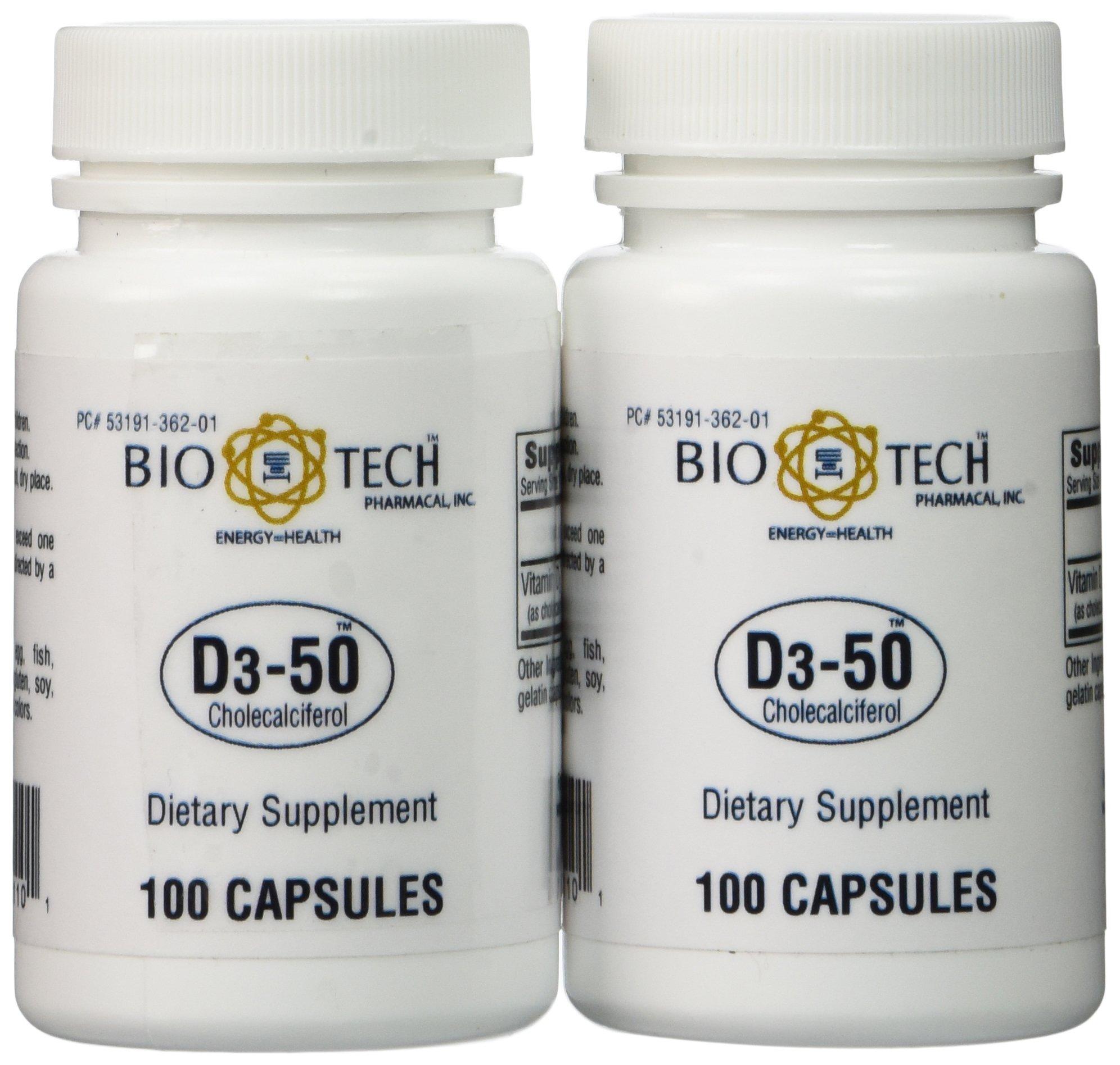 Bio-Tech - D3-50 50,000 IU, 100 Capsules (Pack of 2)