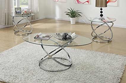 Charmant 3PCS Modern Glass Top Coffee End Table Set With Spinning Circles Base Design
