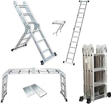 3,5 M aluminio escalera multifunción de extensión/escalera/andamio con plataformas: Amazon.es: Bricolaje y herramientas