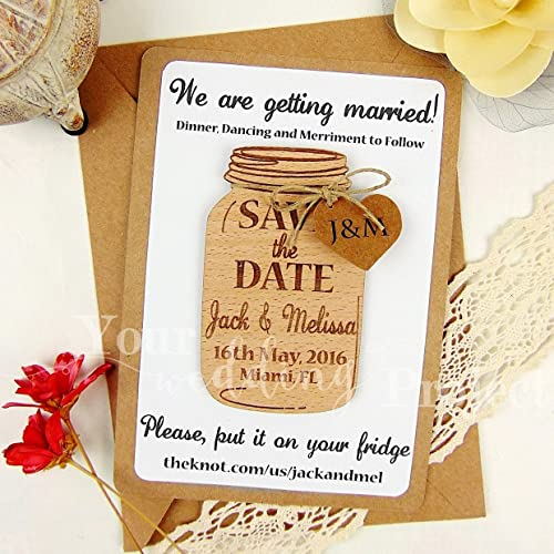Amazon Com Save The Date Magnet Mason Jar Save The Date Wood Save