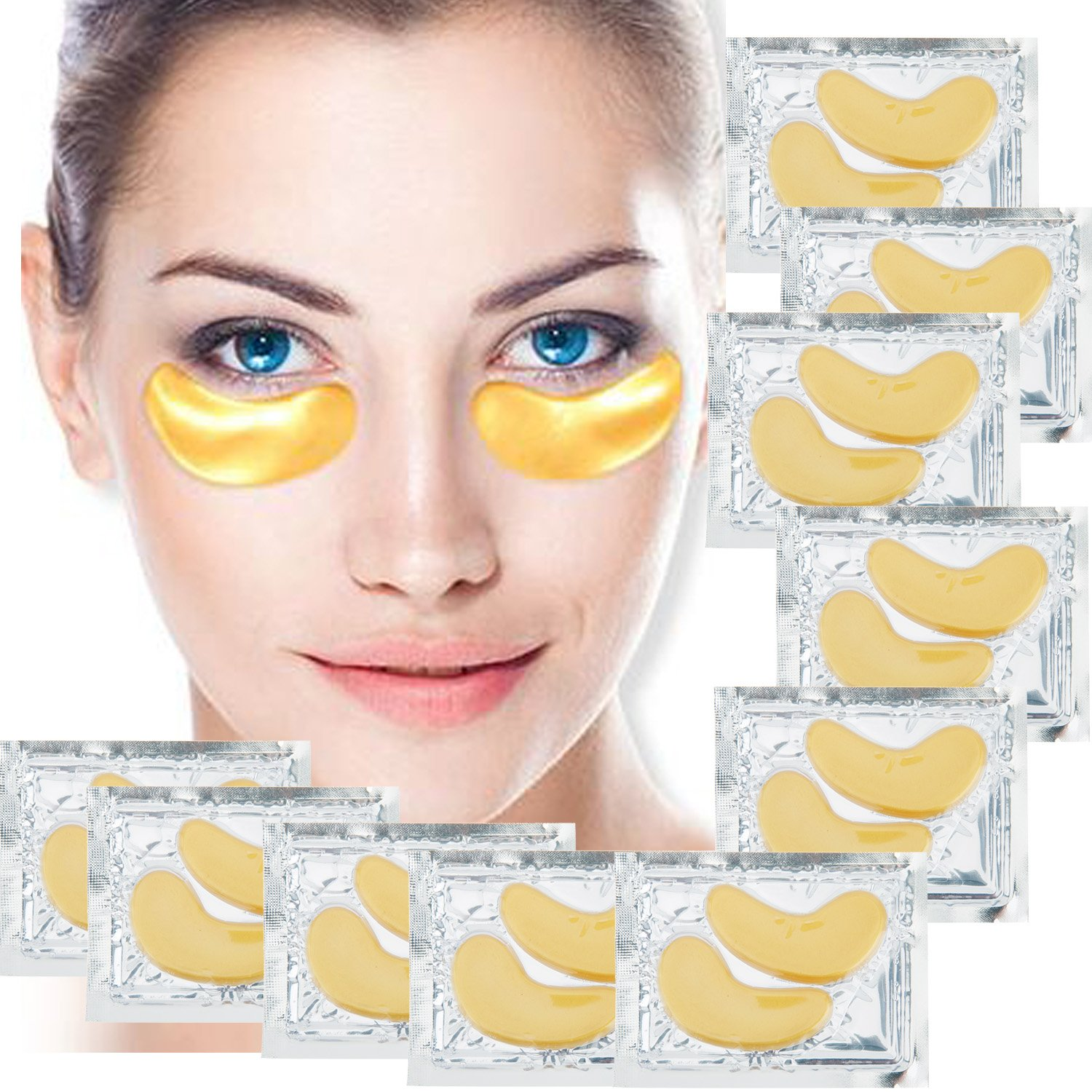 Set of 10 Pairs Eyes 24 K Gold Golden Collagen Gel Crystal Masks Patches Pads for Anti Aging Treatments, Wrinkles Crows Feet, Dark Circles and Puffiness Puffy Eyes Removal and Moisturizing VAGA