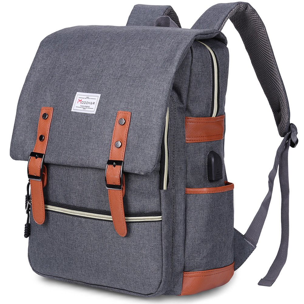 Modoker Vintage Laptop Backpack for Women Men,School College Backpack with USB Charging Port Fashion Backpack Fits 15 inch Notebook (Grey) by Modoker