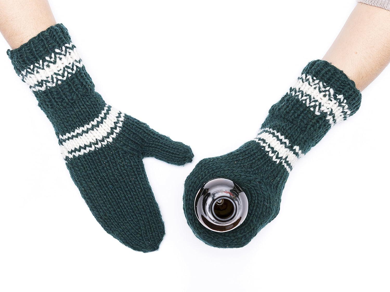 Forest Green White Striped Beer Mitten Set Wool Tailgating Mitten Pair Glove