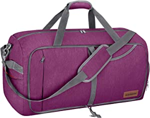 Canway 65L Travel Duffel Bag, Foldable Weekender Bag with Shoes Compartment for Men Women Water-proof & Tear Resistant (Lavender Purple, 65L)