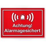 achtung alarmanlage kunststoff schild rot 30 x 20 cm achtung vorsicht alarmgesichert. Black Bedroom Furniture Sets. Home Design Ideas