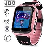 JBC GPS-Telefon Uhr OHNE Abhörfunktion, für Kinder, SOS Notruf+Telefonfunktion, Live GPS+LBS Positionierung, funktioniert weltweit, Anleitung + App + Support auf deutsch (Pink)