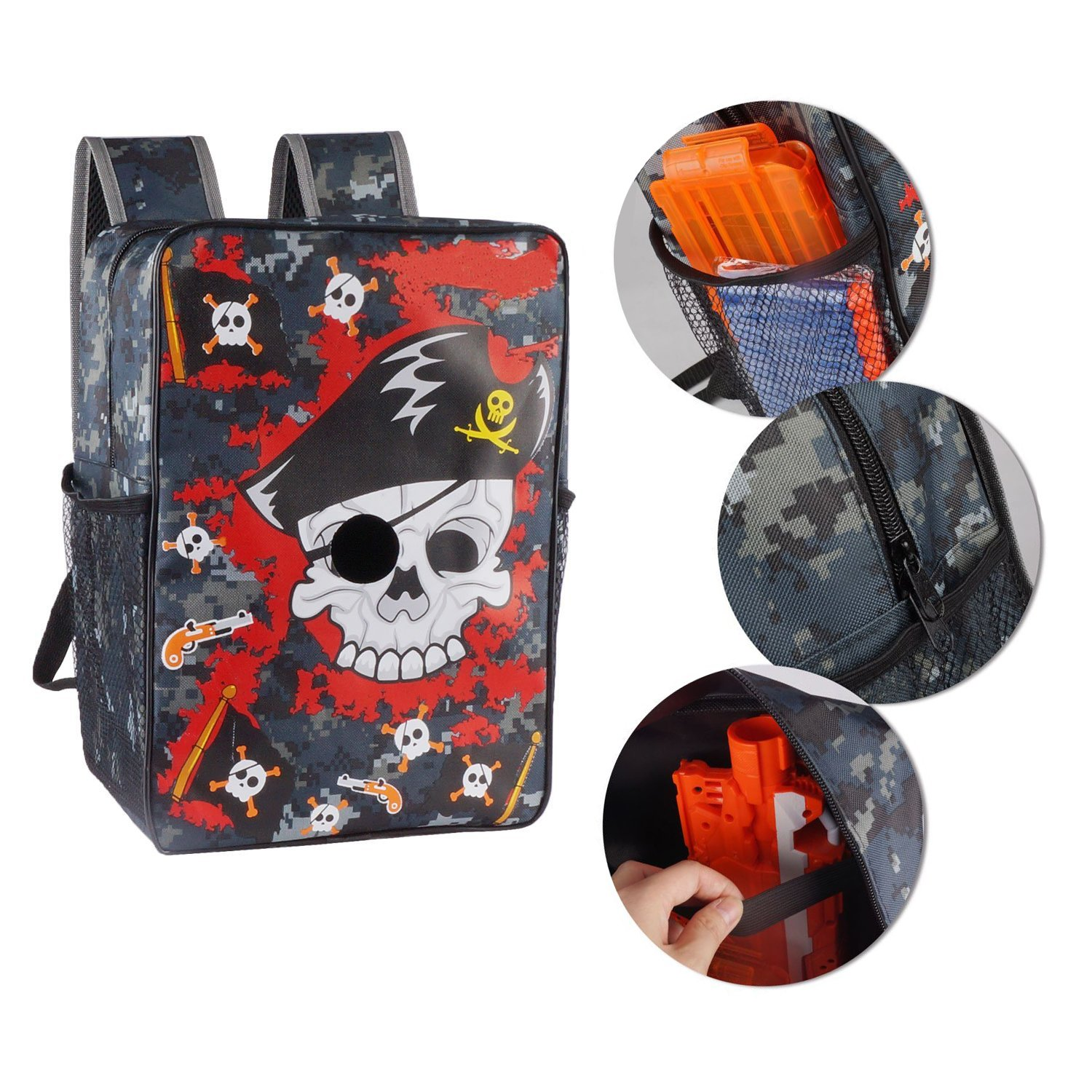 EKIND Target Pouch Storage Pirate Carry Backpack Bag Compatible for Nerf N-Strike Elite | Mega | Rival Series by EKIND