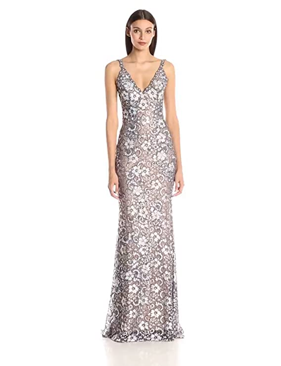 Jovani Womens Lace Fitted Dress, Silver/Nude, 6 at Amazon Womens Clothing store: