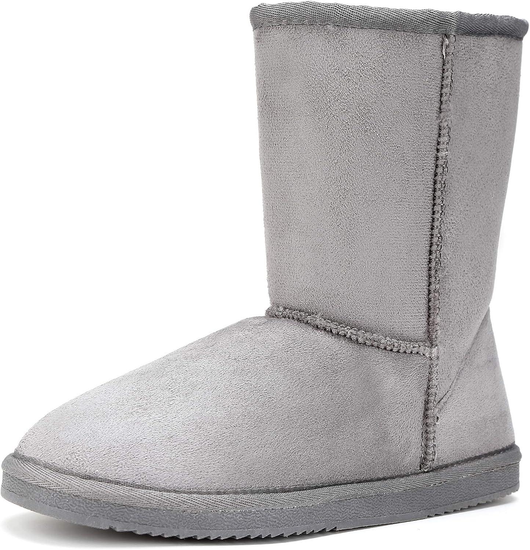 FUNKYMONKEY Women's Winter Classic Suede Imitation Wool Lined Snow Boot