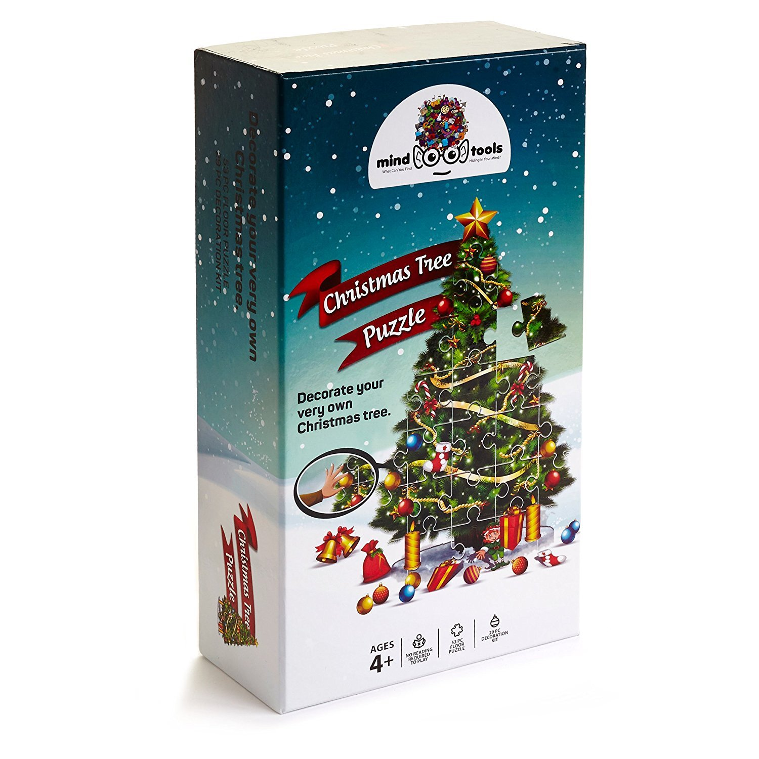 Educational Christmas Tree Floor Puzzle +29PC Ornaments kit -Let Your Children Decorate Their Own Tree -Puzzles For Kids 4 Years Old Will teach to follow design & coordination-not trail & error method by Mind Tools (Image #6)
