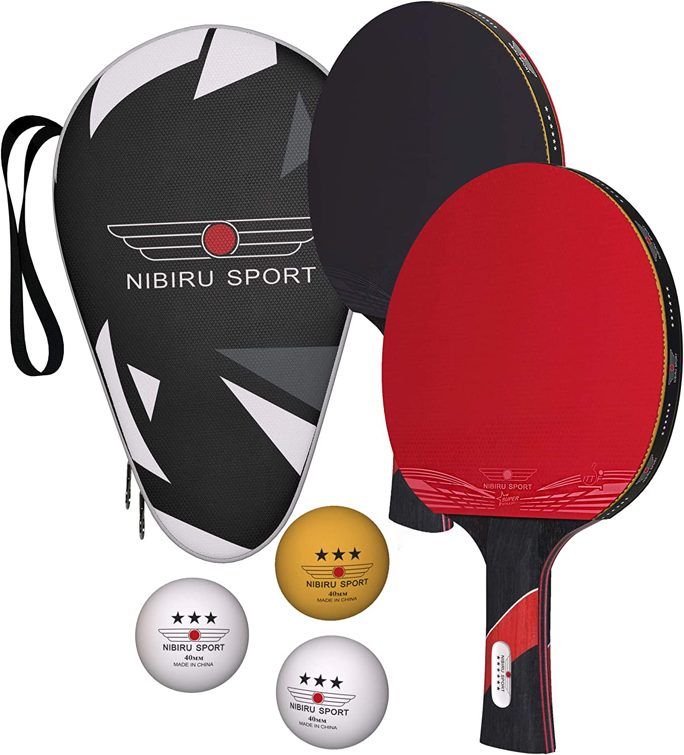 Nibiru Sport Ping Pong Paddles (Set of 2) - Table Tennis Racket Kit w/ 2 Rackets, 3 Balls & Portable Case - Professional Pingpong Paddle, Outdoor Or Indoor Play : Sports & Outdoors