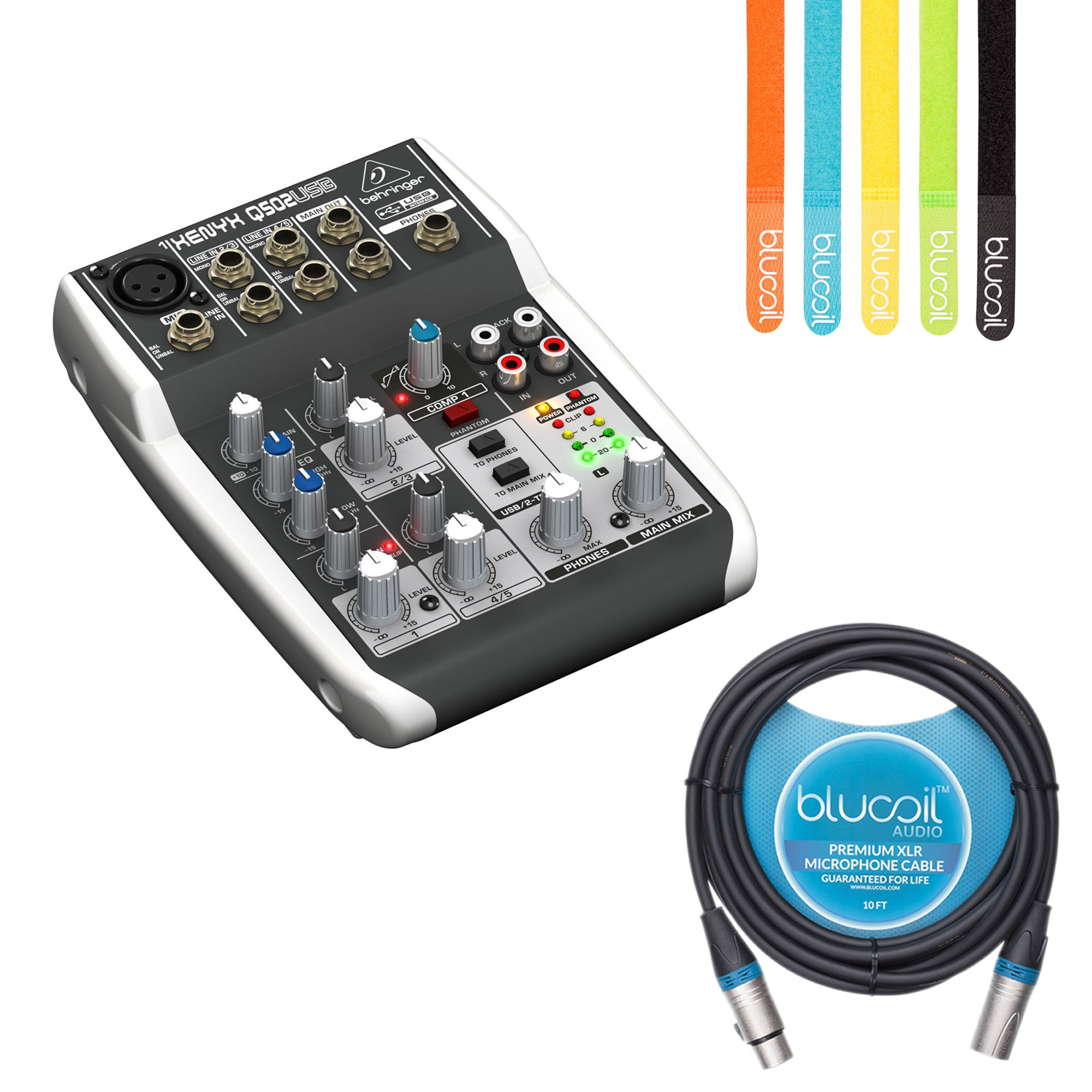 Behringer XENYX Q502USB Analog Mixer with Built-In USB Audio Interface -INCLUDES- Blucoil Premium 10-Ft XLR Cable AND 5-Pack of Cable Ties by blucoil