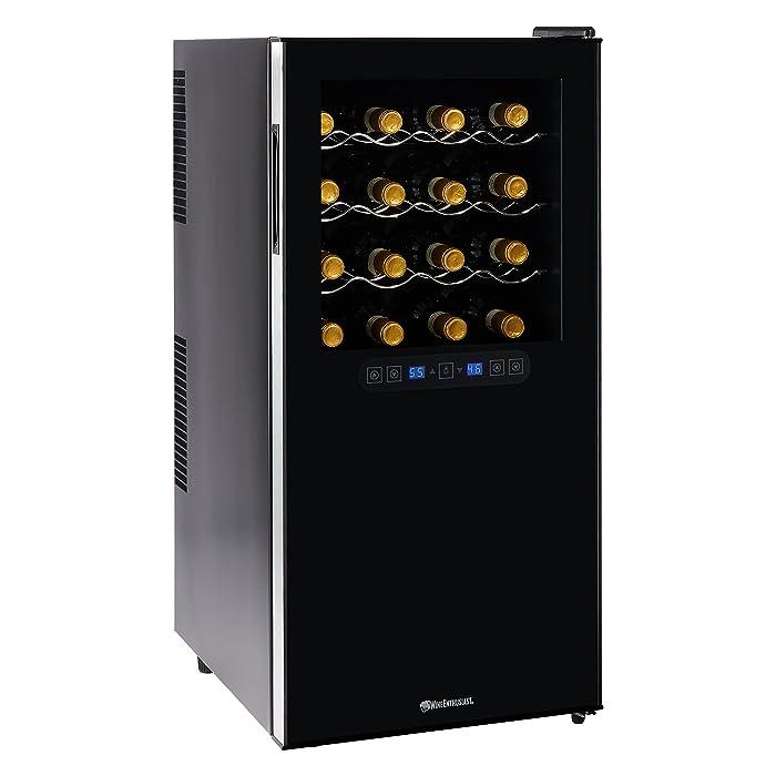 Wine Enthusiast Silent 32 Bottle Wine Refrigerator - Freestanding Touchscreen Dual Zone Wine Cooler, Black w/ Chrome