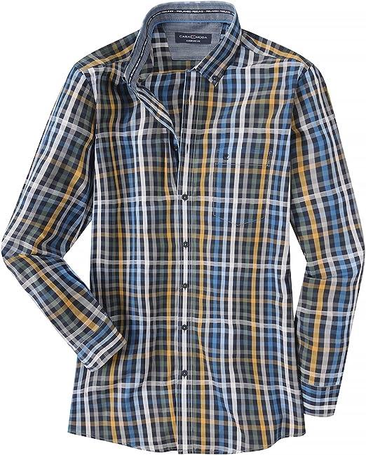 Casamoda XXL Camisa Manga Larga Turquesa-Negra-Amarilla a Cuadros, 2xl-8xl:3XL: Amazon.es: Ropa y accesorios