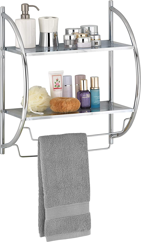 MyGift 2-Tier Wall Mounted Chrome Metal Bathroom Shelves