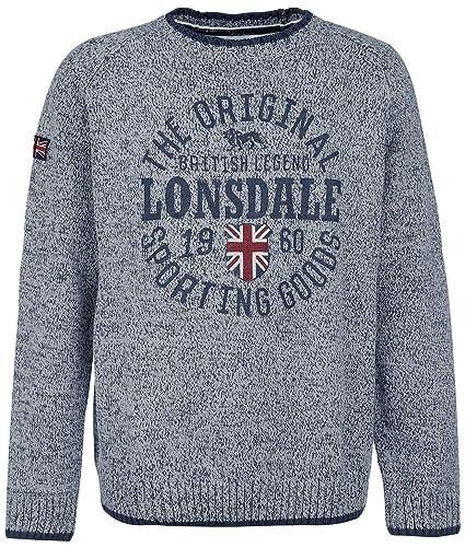 Lonsdale London - Sudadera de Cuello Redondo para Hombre, Hombre, Color Gris Claro,