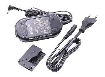 cargador vhbw 220V 14.8W (7.4V/2.0A) para cámara Canon EOS 100D sustituye ACK-E15, incl. adaptador de batería DR-E15.