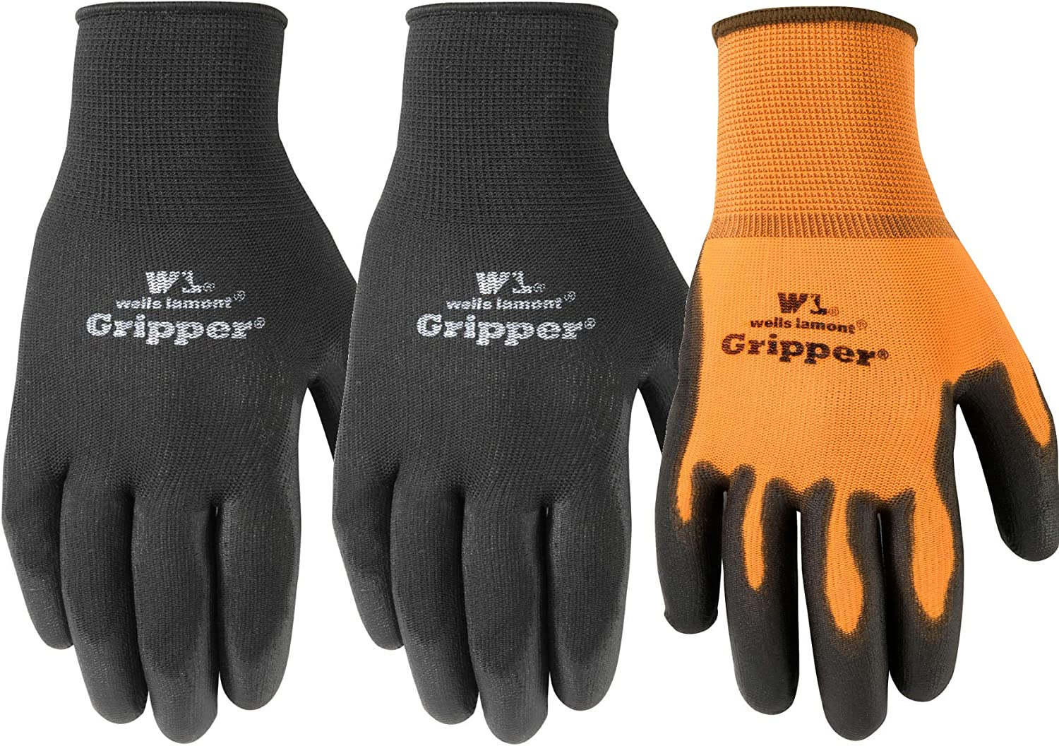 3 Pair Pack Ultimate Gripper Work Gloves with PU-Coating, Large (Wells Lamont 559LF)