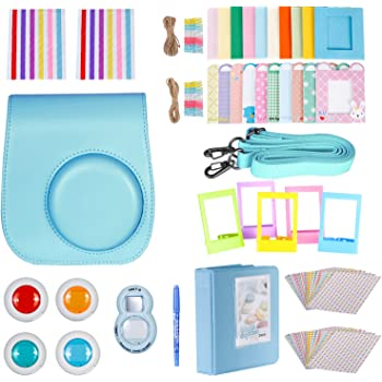 Neewer 10-in-1 Kit de accessorios para Fujifilm Instax Mini 8/8s/9 (Incluye Funda de Cámara/Álbum/Lente para Selfie/4 Filtros coloreados/ 5 Cuadros de Película/20 Marcos de Pared/40 pegatinas de marco/2 pegatinas de esquina/Lápiz), azul