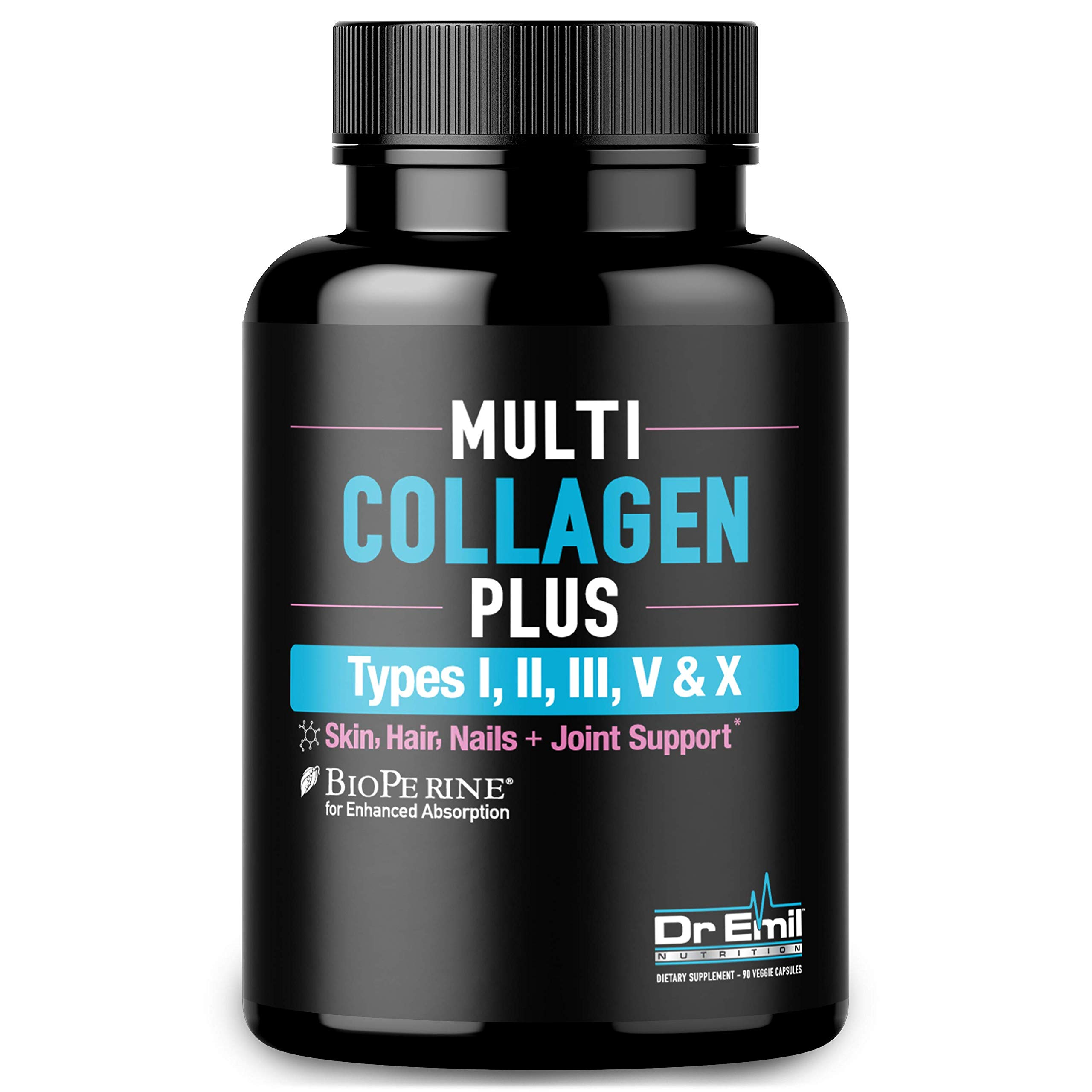 Multi Collagen Pills (Types I, II, III, V & X) - Collagen Peptides + Absorption Enhancer - Grass Fed Collagen Protein Supplement for Anti-Aging, Hair, Skin, Nails and Joints (90 Collagen Capsules) by DR EMIL NUTRITION