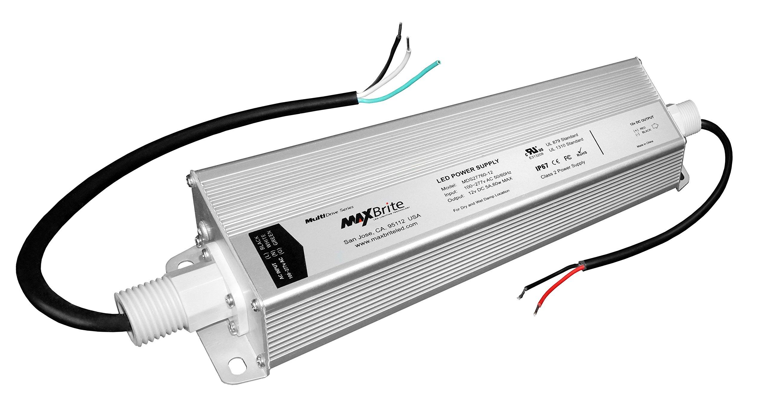 60W LED POWER SUPPLY, 12V DC Output, 100-277V AC Input, IP67 Waterproof, UL/cUL Certified, CE, RoHS, Class 2