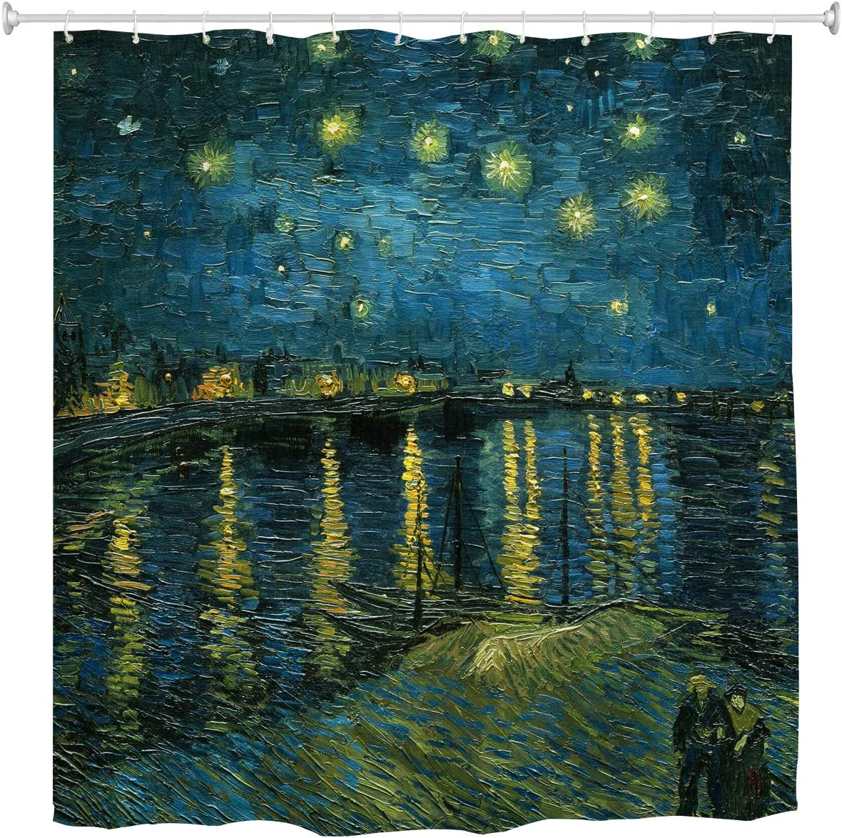 WIHVE Van Gogh Shower Curtain 72 x 72 Inches, Starry Night Over The Rhone Bathroom Curtains Resistant Waterproof Floral Fabric Curtain for Bath Decorations with 12 pcs Plastic Hooks
