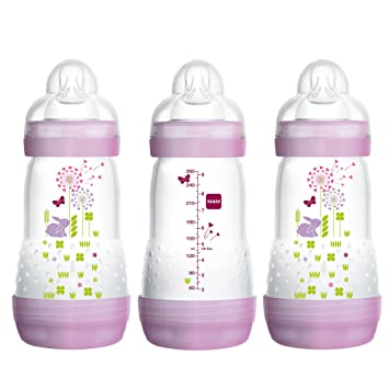 Medium Flow Bottles with Silicone Nipple Baby Essentials MAM Easy Start Anti-Colic Bottle 9 oz Pink 3-Count Baby Bottles for Baby Girl