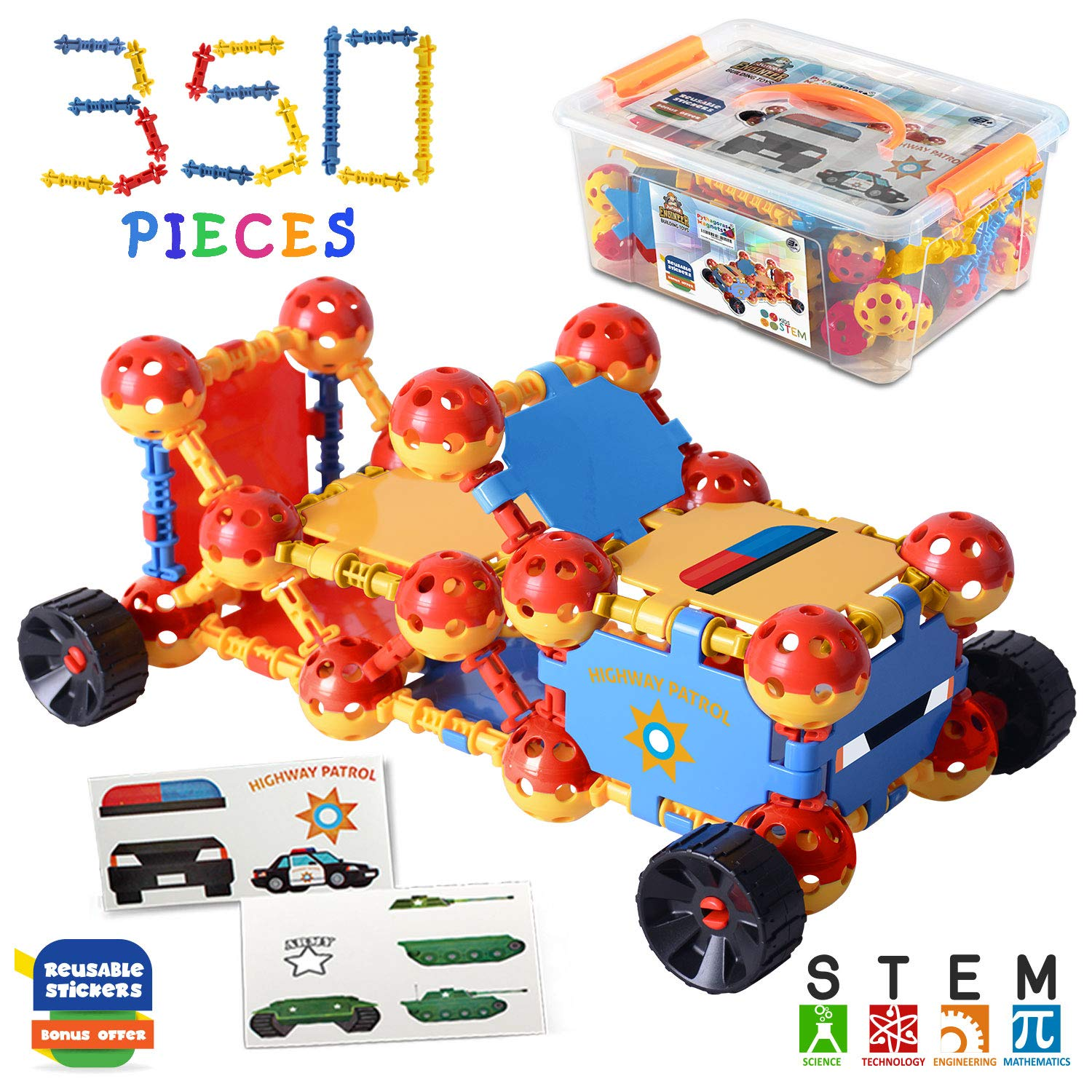 Kids Education Construction--Connecting Building Toys For Kids, 175 Piece Construction Toys For Boys And Girls Ages 3 4 5 6 7 8 9 10 Years Old Best Engineering Click Interlocking Toys (350-PCS)