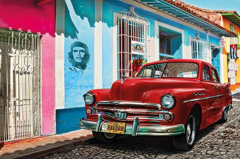 great art oldtimer in havana wall decoration mural cuba. Black Bedroom Furniture Sets. Home Design Ideas