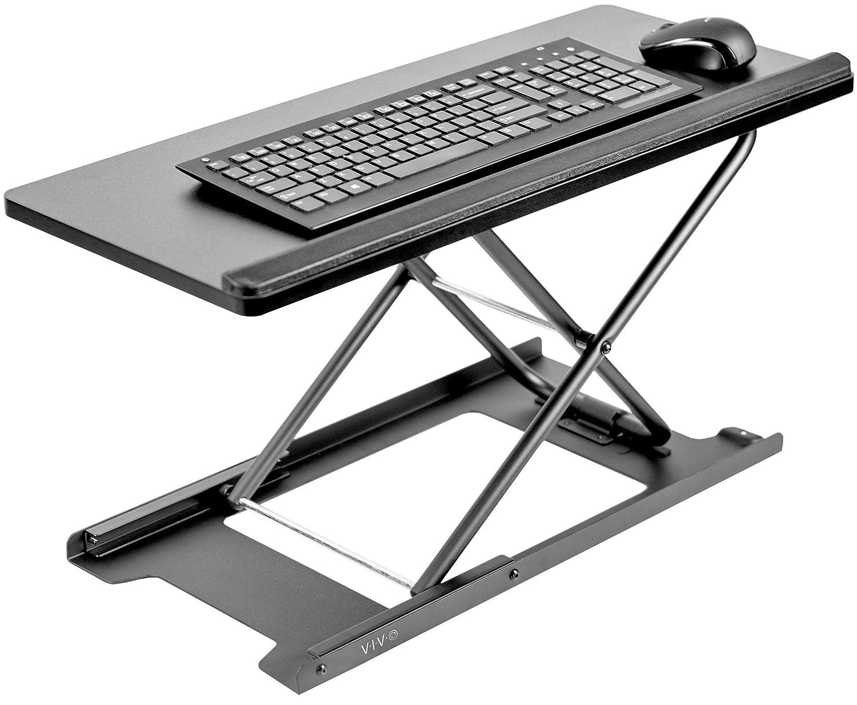VIVO Black Single Top 27 inch Heavy-Duty Scissors Lift Keyboard and Mouse Riser | Designed for Ergonomic Sit Stand Workstations (DESK-V000P)