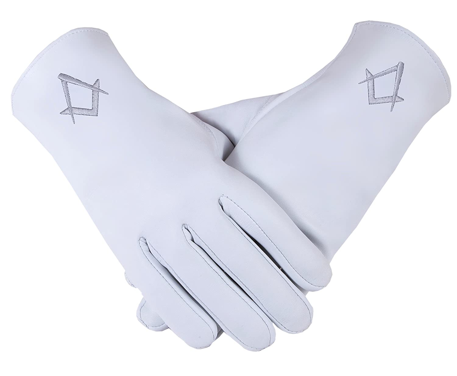 Freemasons Masonic Leather Gloves in Silver Embroidered S& C