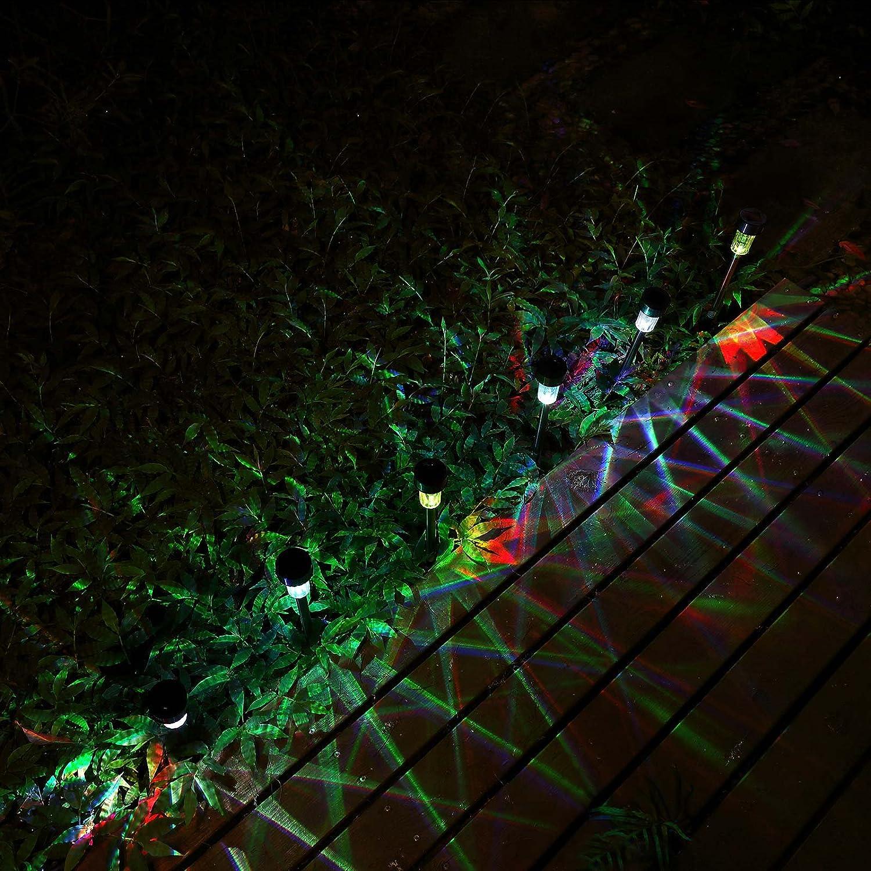 Illuminazione giardino Deuba Lampade Solari da Giardino LED X16 in acciaio inox a prova di intemperie Accensione automatica Luci giardino Multicolore Rosso Verde Blu